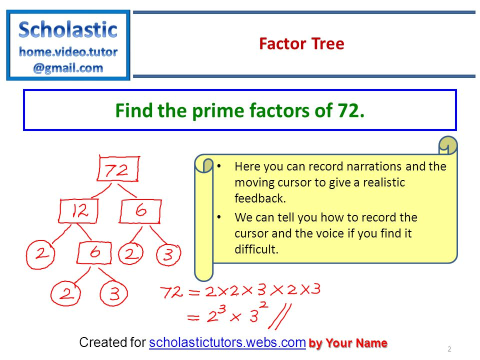 by Your Name Created for scholastictutors.webs.com by Your Namescholastictutors.webs.com Factor Tree 2 Find the prime factors of 72.