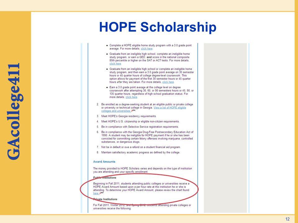 HOPE Scholarship 12