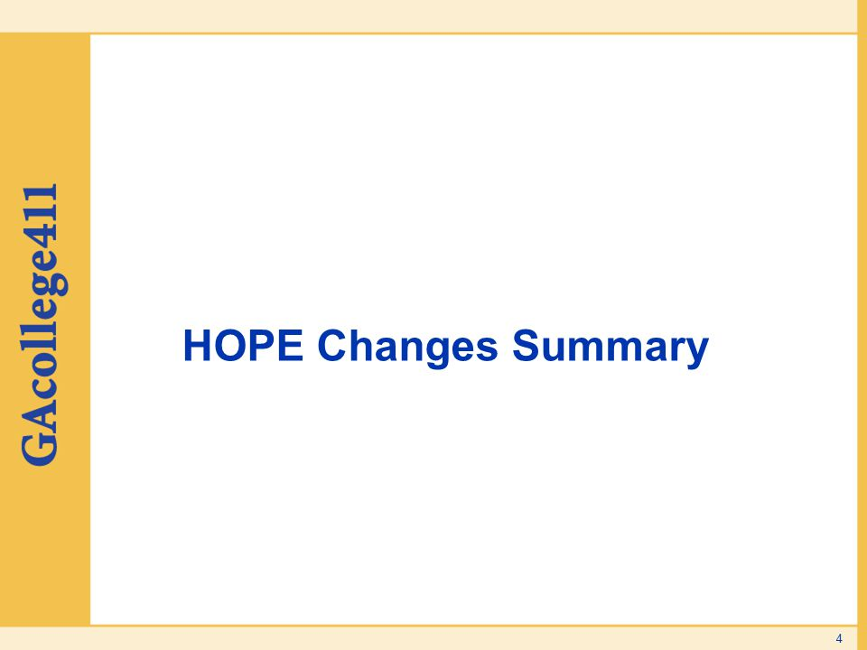 HOPE Changes Summary 4
