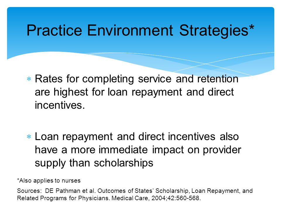  Rates for completing service and retention are highest for loan repayment and direct incentives.