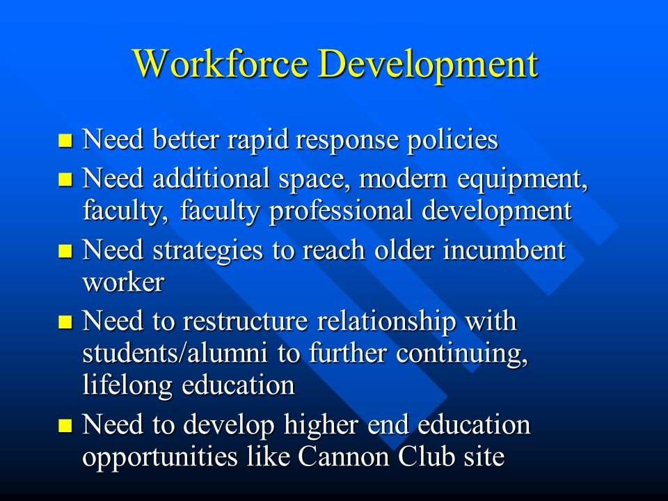 Workforce Development Need better rapid response policies Need better rapid response policies Need additional space, modern equipment, faculty, faculty professional development Need additional space, modern equipment, faculty, faculty professional development Need strategies to reach older incumbent worker Need strategies to reach older incumbent worker Need to restructure relationship with students/alumni to further continuing, lifelong education Need to restructure relationship with students/alumni to further continuing, lifelong education Need to develop higher end education opportunities like Cannon Club site Need to develop higher end education opportunities like Cannon Club site