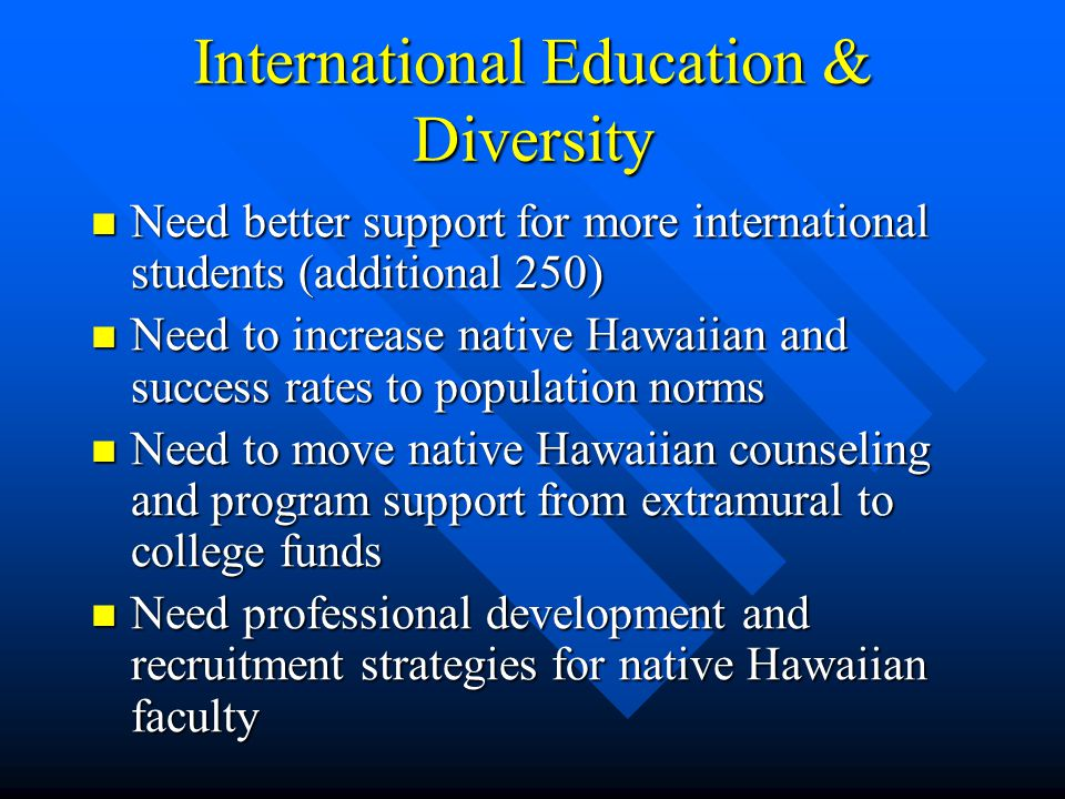 International Education & Diversity Need better support for more international students (additional 250) Need better support for more international students (additional 250) Need to increase native Hawaiian and success rates to population norms Need to increase native Hawaiian and success rates to population norms Need to move native Hawaiian counseling and program support from extramural to college funds Need to move native Hawaiian counseling and program support from extramural to college funds Need professional development and recruitment strategies for native Hawaiian faculty Need professional development and recruitment strategies for native Hawaiian faculty