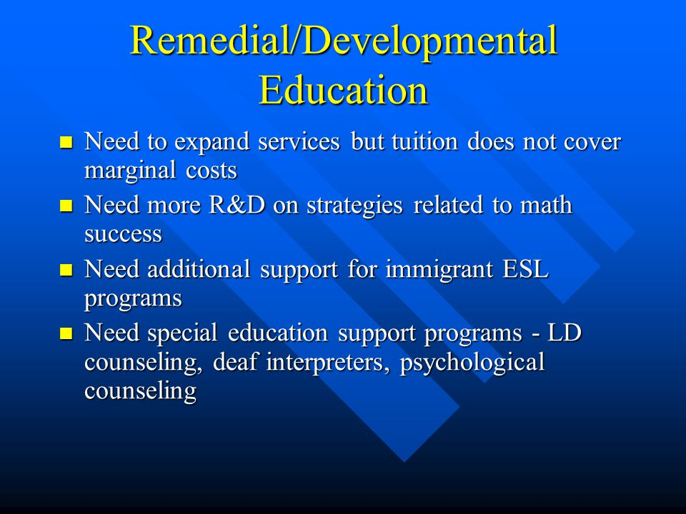 Remedial/Developmental Education Need to expand services but tuition does not cover marginal costs Need to expand services but tuition does not cover marginal costs Need more R&D on strategies related to math success Need more R&D on strategies related to math success Need additional support for immigrant ESL programs Need additional support for immigrant ESL programs Need special education support programs - LD counseling, deaf interpreters, psychological counseling Need special education support programs - LD counseling, deaf interpreters, psychological counseling
