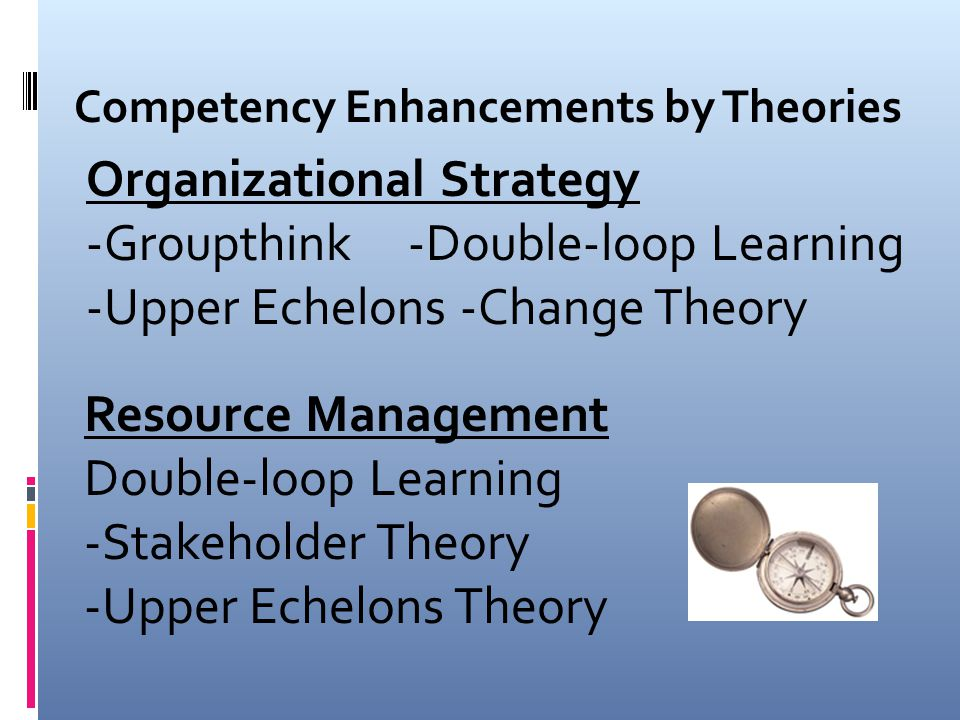 Communication -Groupthink -Double-loop Learning -Stakeholder Theory -Upper Echelons Theory Competency Enhancements by Theories Collaboration -Groupthink -Stakeholder Theory -Upper Echelons Theory -Change Theory