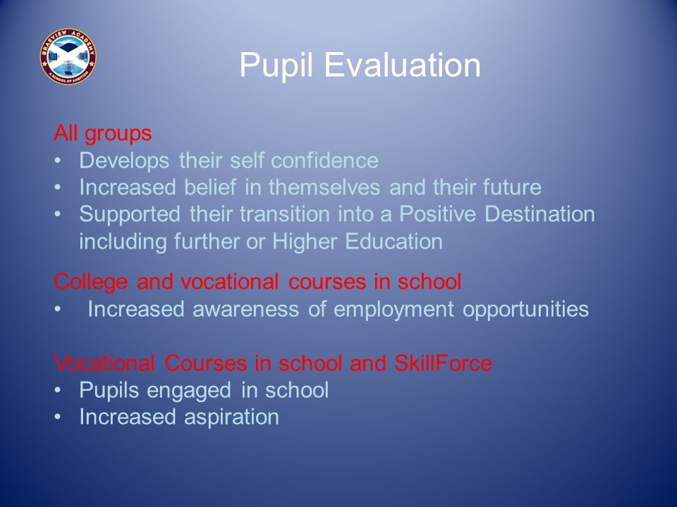 Pupil Evaluation All groups Develops their self confidence Increased belief in themselves and their future Supported their transition into a Positive Destination including further or Higher Education College and vocational courses in school Increased awareness of employment opportunities Vocational Courses in school and SkillForce Pupils engaged in school Increased aspiration