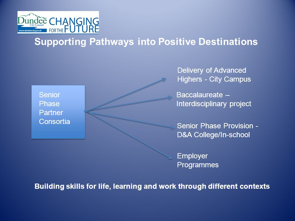 Delivery of Advanced Highers - City Campus Baccalaureate – Interdisciplinary project Senior Phase Provision - D&A College/In-school Employer Programmes Senior Phase Partner Consortia Supporting Pathways into Positive Destinations Building skills for life, learning and work through different contexts