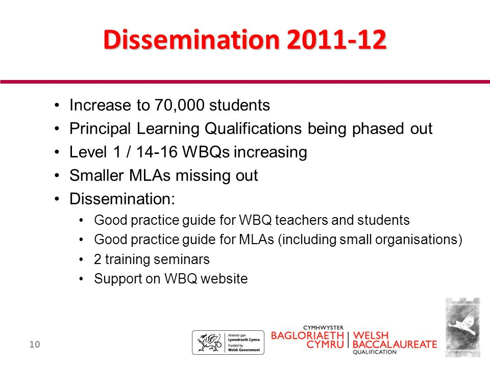 10 Dissemination 2011-12 Increase to 70,000 students Principal Learning Qualifications being phased out Level 1 / 14-16 WBQs increasing Smaller MLAs missing out Dissemination: Good practice guide for WBQ teachers and students Good practice guide for MLAs (including small organisations) 2 training seminars Support on WBQ website