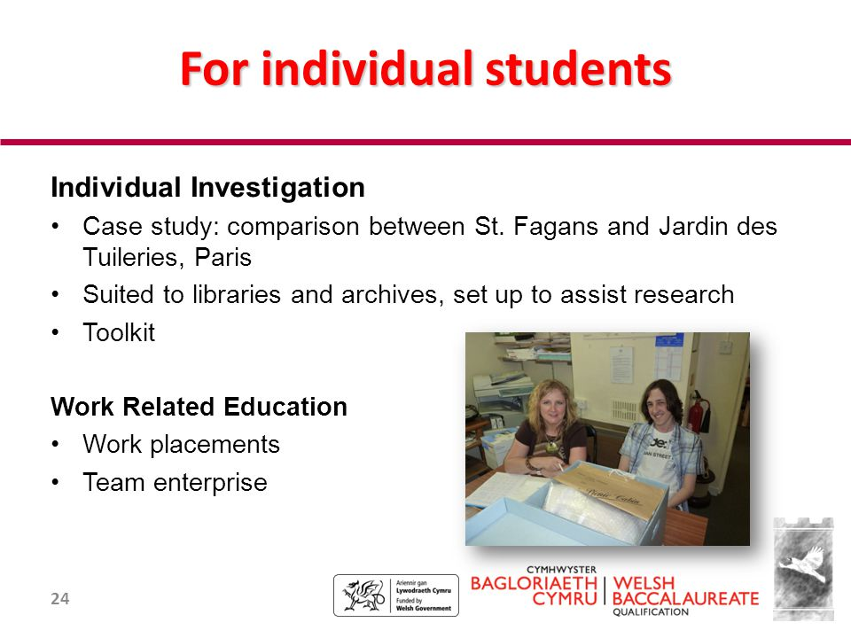24 For individual students Individual Investigation Case study: comparison between St.