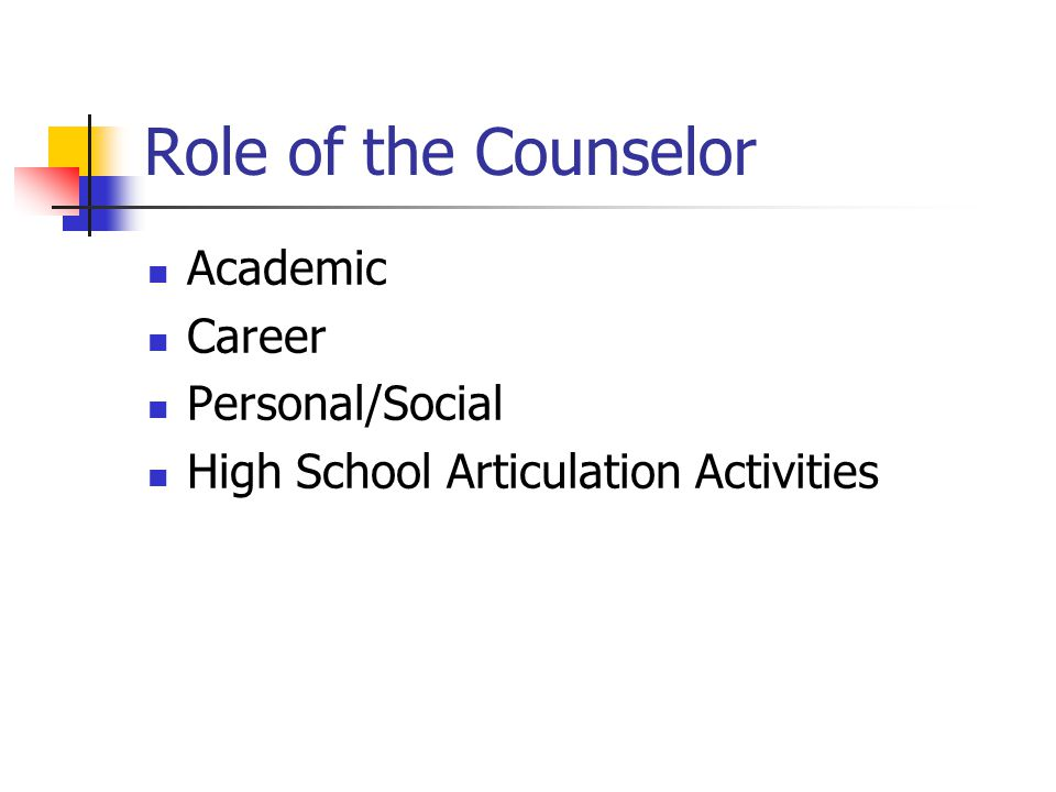 Role of the Counselor Academic Career Personal/Social High School Articulation Activities