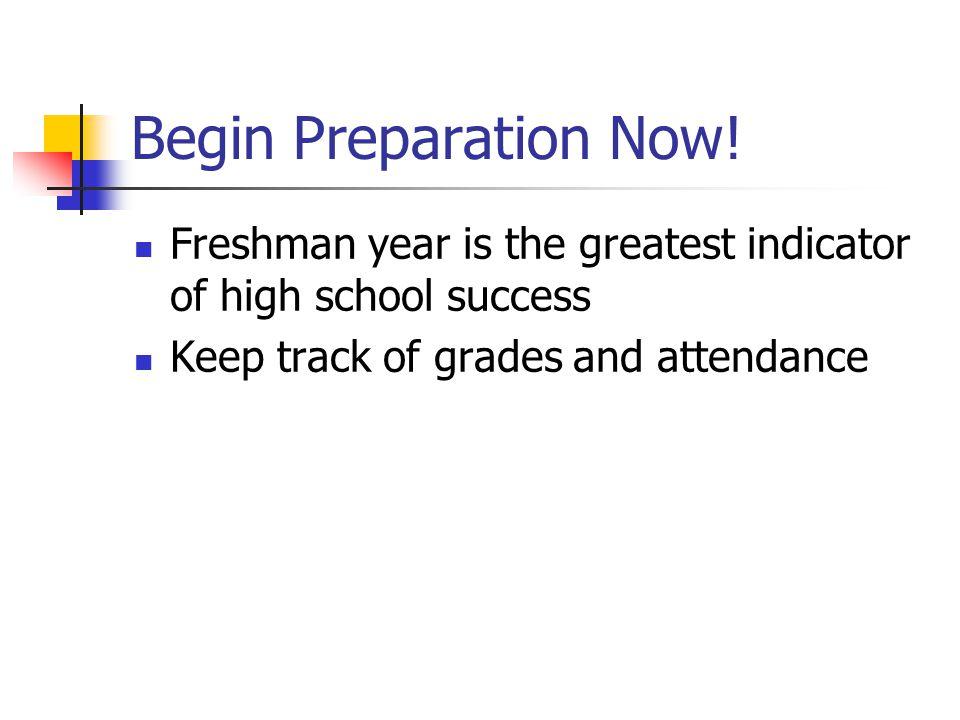 Begin Preparation Now.