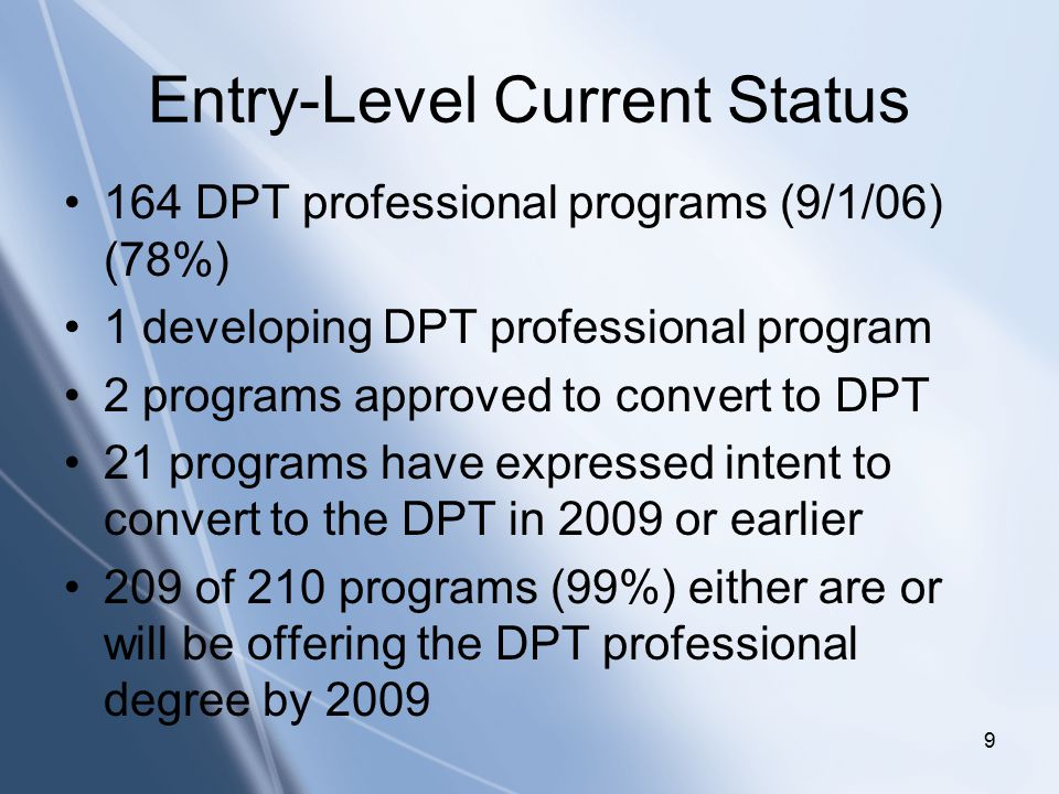 Click to edit Master title style Click to edit Master subtitle style 9 Entry-Level Current Status 164 DPT professional programs (9/1/06) (78%) 1 developing DPT professional program 2 programs approved to convert to DPT 21 programs have expressed intent to convert to the DPT in 2009 or earlier 209 of 210 programs (99%) either are or will be offering the DPT professional degree by 2009