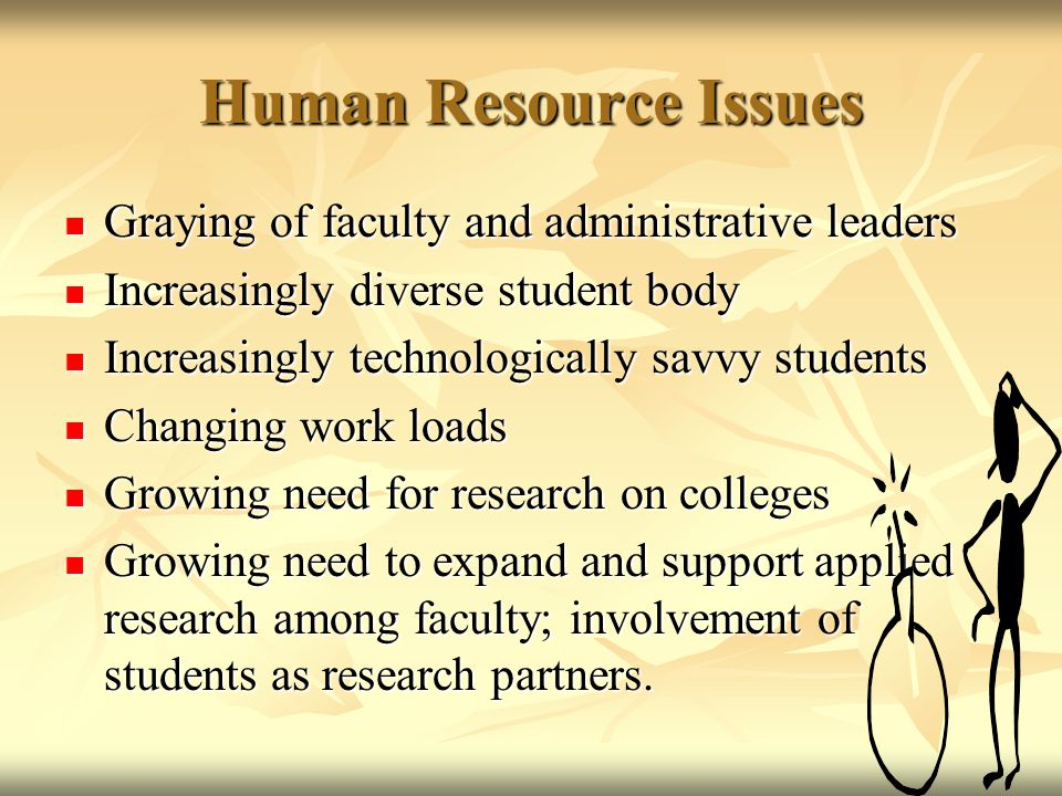 Human Resource Issues Graying of faculty and administrative leaders Graying of faculty and administrative leaders Increasingly diverse student body Increasingly diverse student body Increasingly technologically savvy students Increasingly technologically savvy students Changing work loads Changing work loads Growing need for research on colleges Growing need for research on colleges Growing need to expand and support applied research among faculty; involvement of students as research partners.