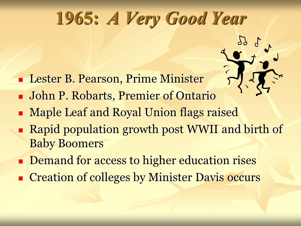 1965: A Very Good Year Lester B. Pearson, Prime Minister Lester B.