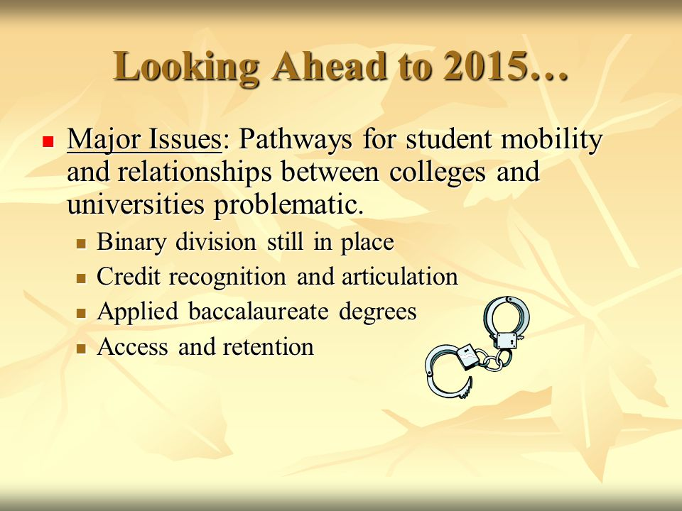 Looking Ahead to 2015… Major Issues: Pathways for student mobility and relationships between colleges and universities problematic.