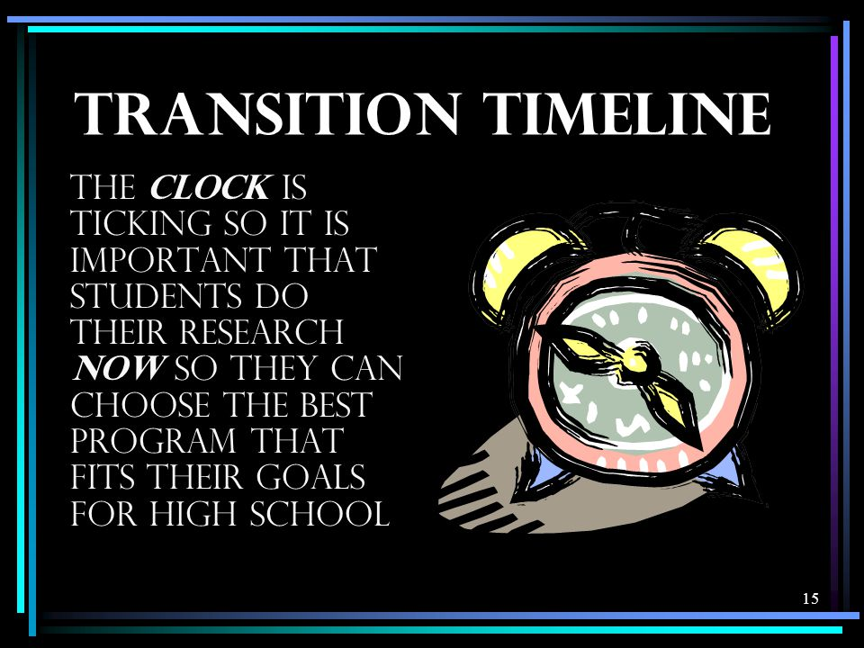 15 TRANSITION TIMELINE The CLOCK is ticking so it is important that students do their research NOW so they can choose the best program that fits their goals for high school