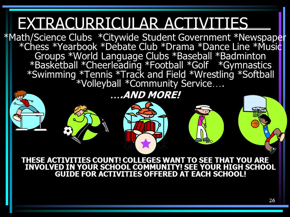 26 EXTRACURRICULAR ACTIVITIES *Math/Science Clubs *Citywide Student Government *Newspaper *Chess *Yearbook *Debate Club *Drama *Dance Line *Music Groups *World Language Clubs *Baseball *Badminton *Basketball *Cheerleading *Football *Golf *Gymnastics *Swimming *Tennis *Track and Field *Wrestling *Softball *Volleyball *Community Service ….