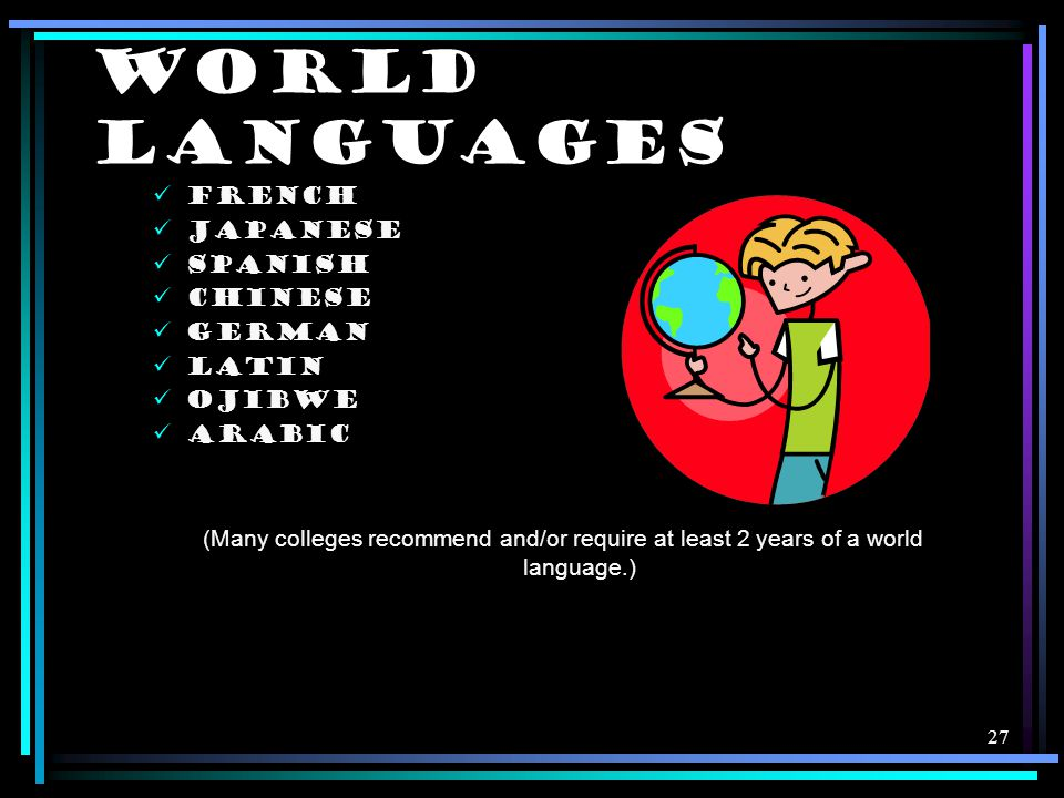 27 WORLD LANGUAGES FRENCH JAPANESE SPANISH CHINESE GERMAN LATIN OJIBWE ARABIC (Many colleges recommend and/or require at least 2 years of a world language.)