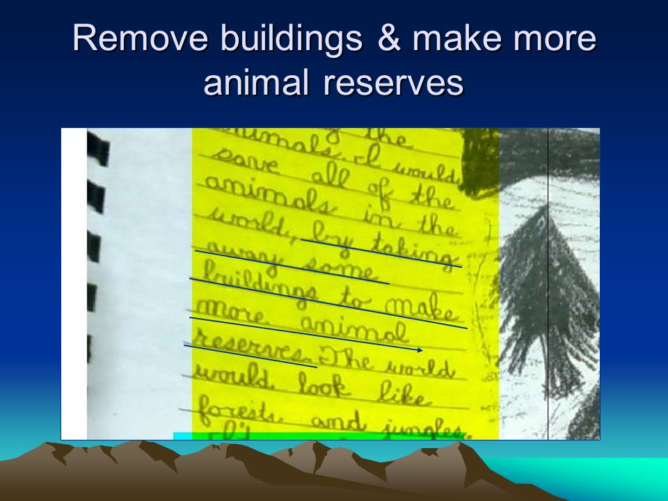 Remove buildings & make more animal reserves