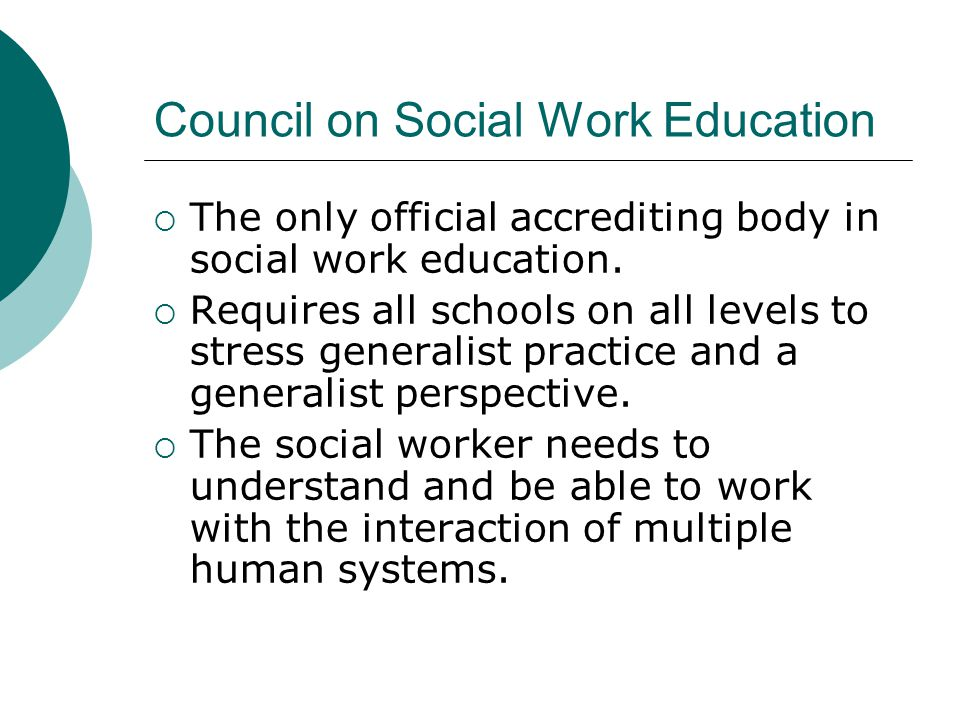Council on Social Work Education  The only official accrediting body in social work education.  Requires all schools on all levels to stress general