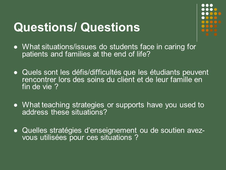 Questions/ Questions What situations/issues do students face in caring for patients and families at the end of life.