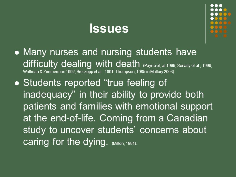 Issues Many nurses and nursing students have difficulty dealing with death (Payne et, al.1998; Servaty et al., 1996; Waltman & Zimmerman 1992; Brockopp et al., 1991; Thompson, 1985 in Mallory 2003) Students reported true feeling of inadequacy in their ability to provide both patients and families with emotional support at the end-of-life.