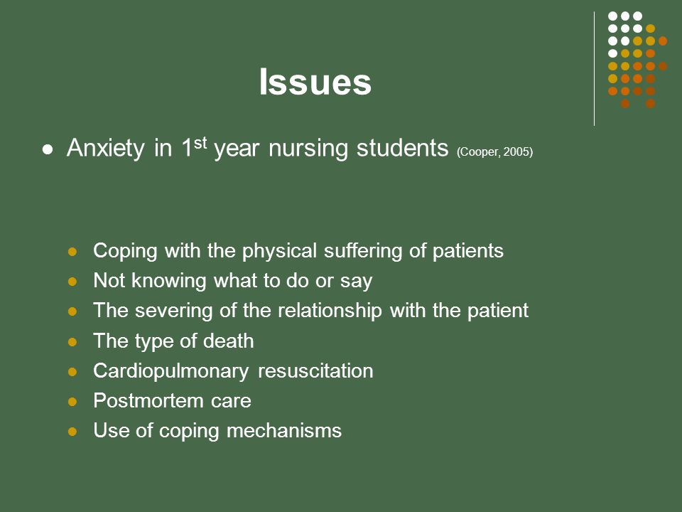 Issues Anxiety in 1 st year nursing students (Cooper, 2005) Coping with the physical suffering of patients Not knowing what to do or say The severing of the relationship with the patient The type of death Cardiopulmonary resuscitation Postmortem care Use of coping mechanisms