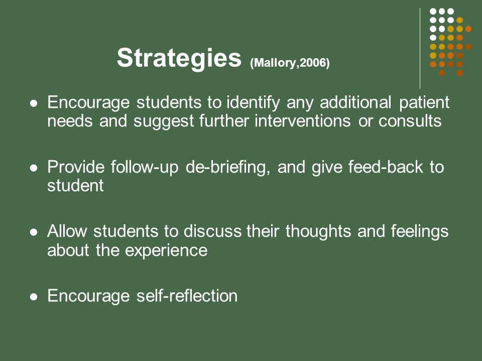 Strategies (Mallory,2006) Encourage students to identify any additional patient needs and suggest further interventions or consults Provide follow-up de-briefing, and give feed-back to student Allow students to discuss their thoughts and feelings about the experience Encourage self-reflection