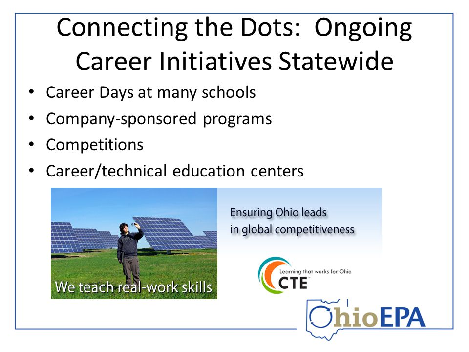 Connecting the Dots: Ongoing Career Initiatives Statewide Career Days at many schools Company-sponsored programs Competitions Career/technical educati