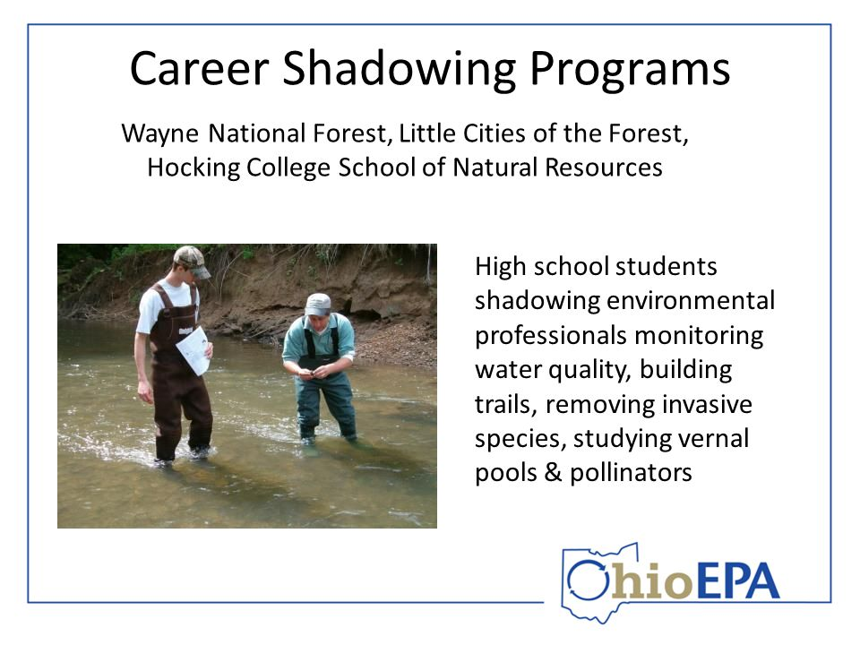 Career Shadowing Programs Wayne National Forest, Little Cities of the Forest, Hocking College School of Natural Resources High school students shadowi