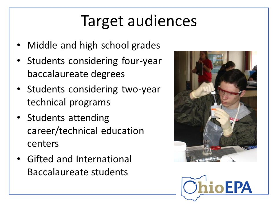Target audiences Middle and high school grades Students considering four-year baccalaureate degrees Students considering two-year technical programs Students attending career/technical education centers Gifted and International Baccalaureate students