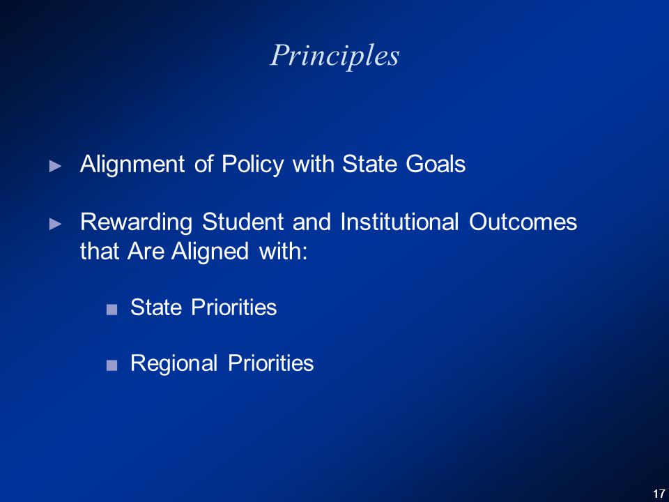 17 Principles ► Alignment of Policy with State Goals ► Rewarding Student and Institutional Outcomes that Are Aligned with: ■State Priorities ■Regional Priorities