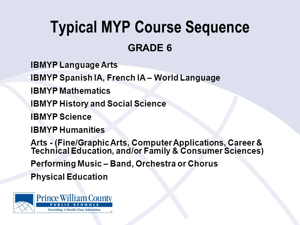 Typical MYP Course Sequence IBMYP Language Arts IBMYP Spanish IA, French IA – World Language IBMYP Mathematics IBMYP History and Social Science IBMYP Science IBMYP Humanities Arts - (Fine/Graphic Arts, Computer Applications, Career & Technical Education, and/or Family & Consumer Sciences) Performing Music – Band, Orchestra or Chorus Physical Education GRADE 6