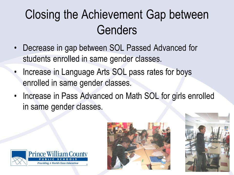 Closing the Achievement Gap between Genders Decrease in gap between SOL Passed Advanced for students enrolled in same gender classes.