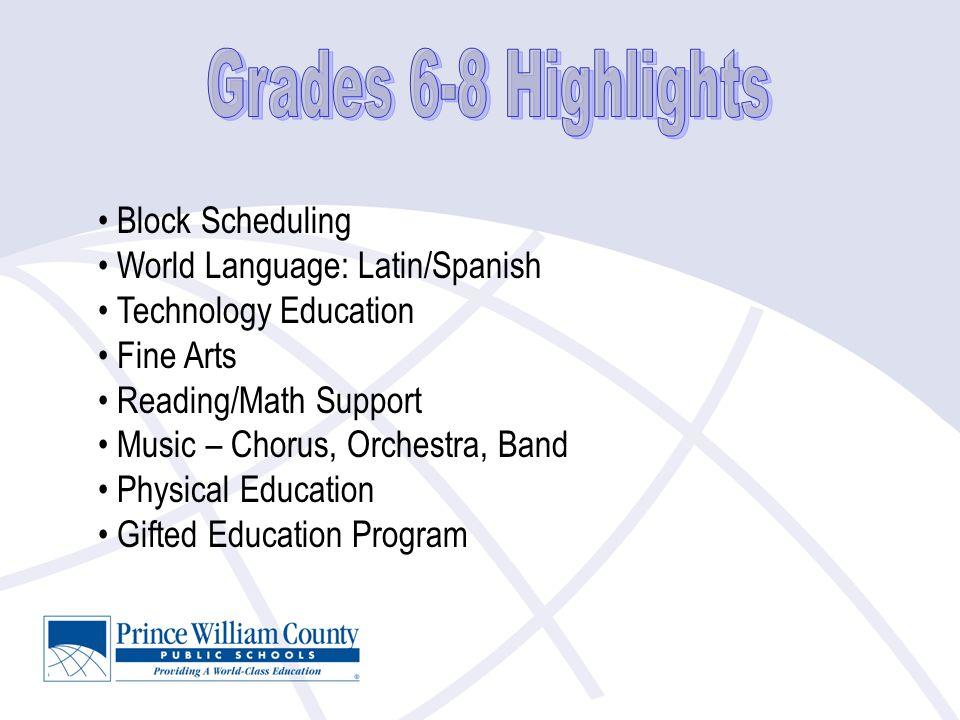 Block Scheduling World Language: Latin/Spanish Technology Education Fine Arts Reading/Math Support Music – Chorus, Orchestra, Band Physical Education Gifted Education Program