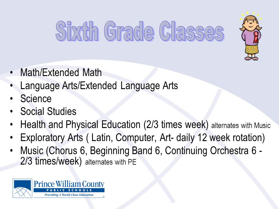 Math/Extended Math Language Arts/Extended Language Arts Science Social Studies Health and Physical Education (2/3 times week) alternates with Music Exploratory Arts ( Latin, Computer, Art- daily 12 week rotation) Music (Chorus 6, Beginning Band 6, Continuing Orchestra 6 - 2/3 times/week) alternates with PE