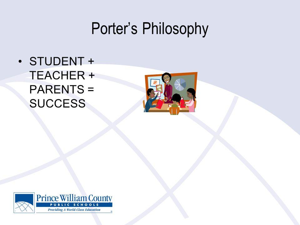 Porter's Philosophy STUDENT + TEACHER + PARENTS = SUCCESS