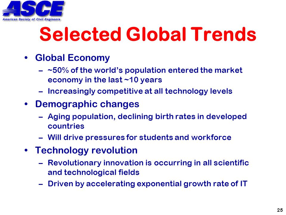 25 Selected Global Trends Global Economy –~50% of the world's population entered the market economy in the last ~10 years –Increasingly competitive at all technology levels Demographic changes –Aging population, declining birth rates in developed countries –Will drive pressures for students and workforce Technology revolution –Revolutionary innovation is occurring in all scientific and technological fields –Driven by accelerating exponential growth rate of IT