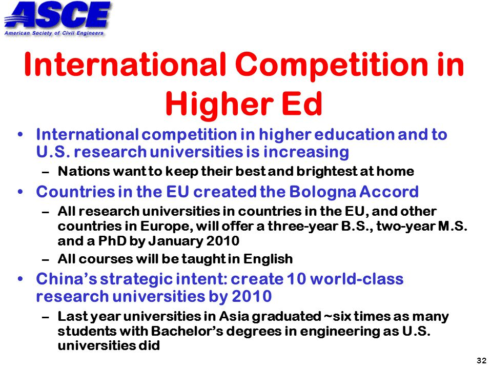 32 International Competition in Higher Ed International competition in higher education and to U.S.