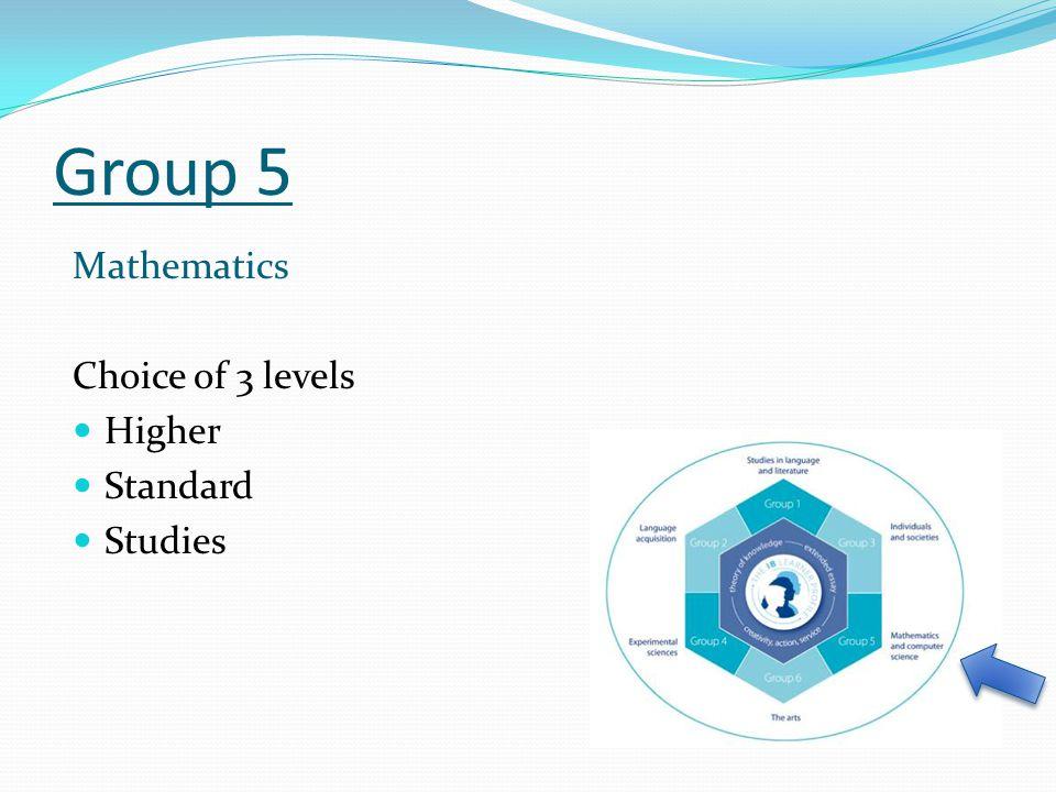 Group 5 Mathematics Choice of 3 levels Higher Standard Studies