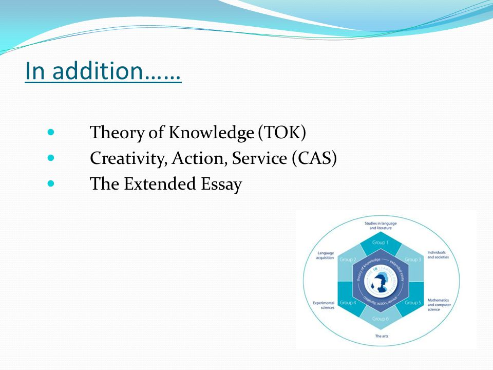 In addition…… Theory of Knowledge (TOK) Creativity, Action, Service (CAS) The Extended Essay