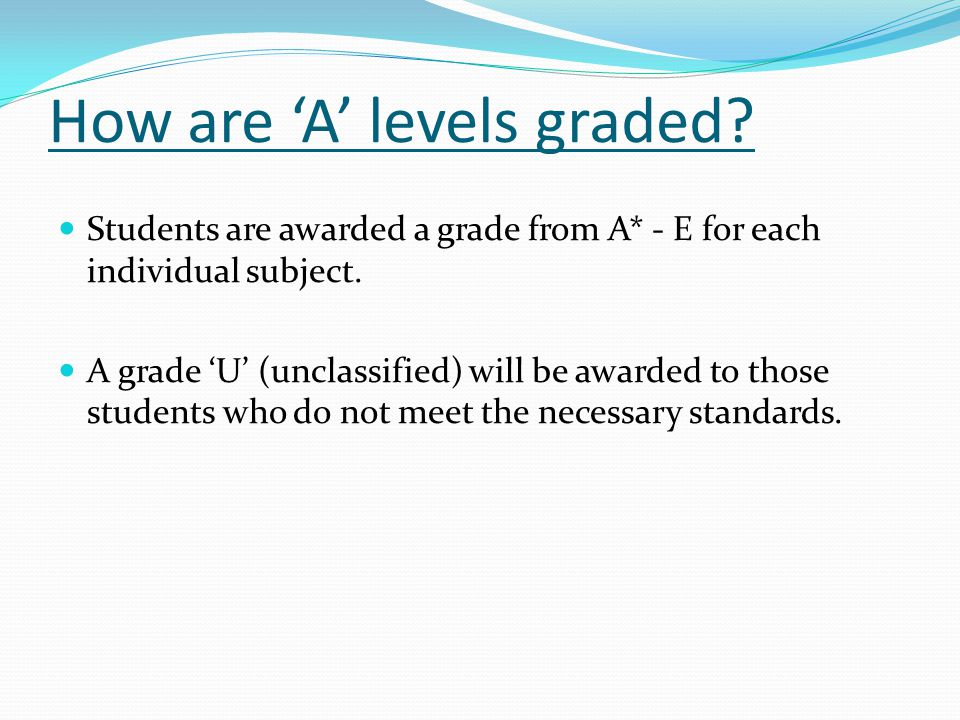 How are 'A' levels graded. Students are awarded a grade from A* - E for each individual subject.