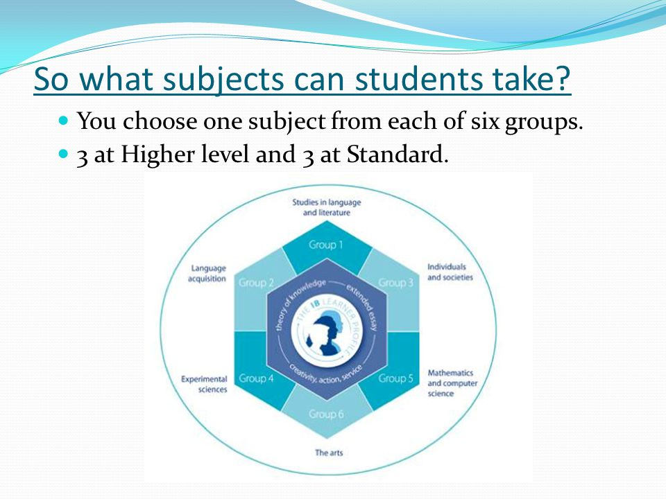 So what subjects can students take. You choose one subject from each of six groups.