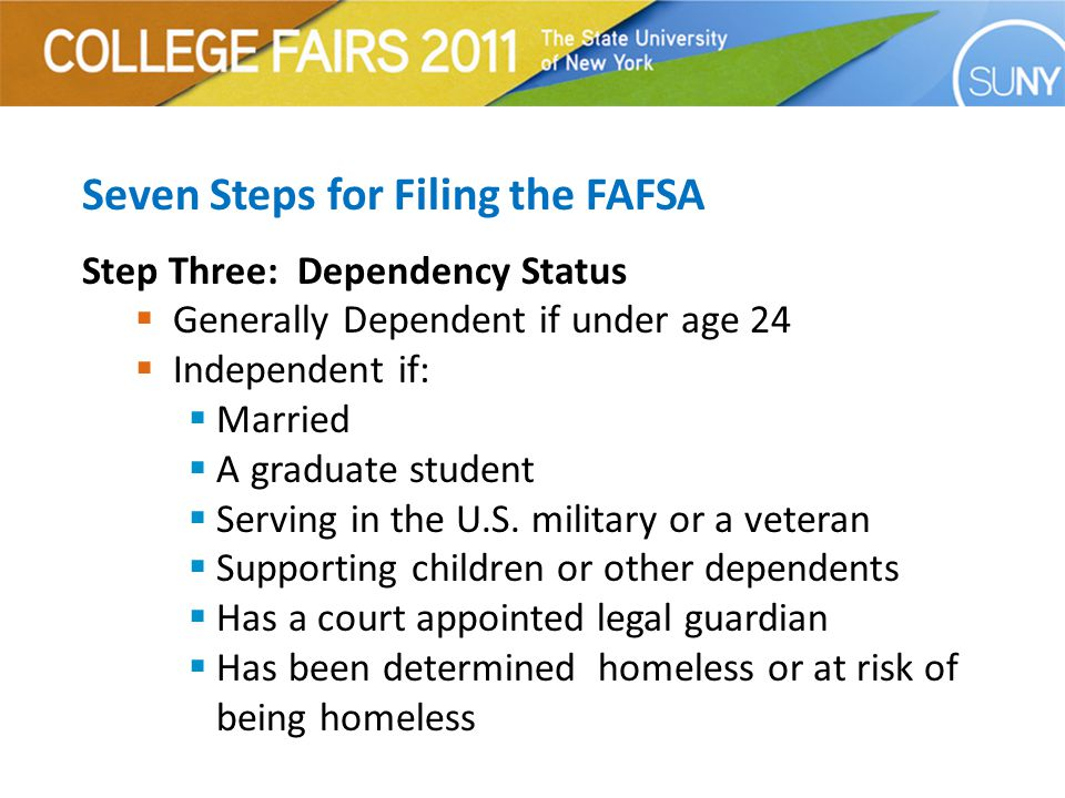 Seven Steps for Filing the FAFSA Step Three: Dependency Status  Generally Dependent if under age 24  Independent if:  Married  A graduate student  Serving in the U.S.