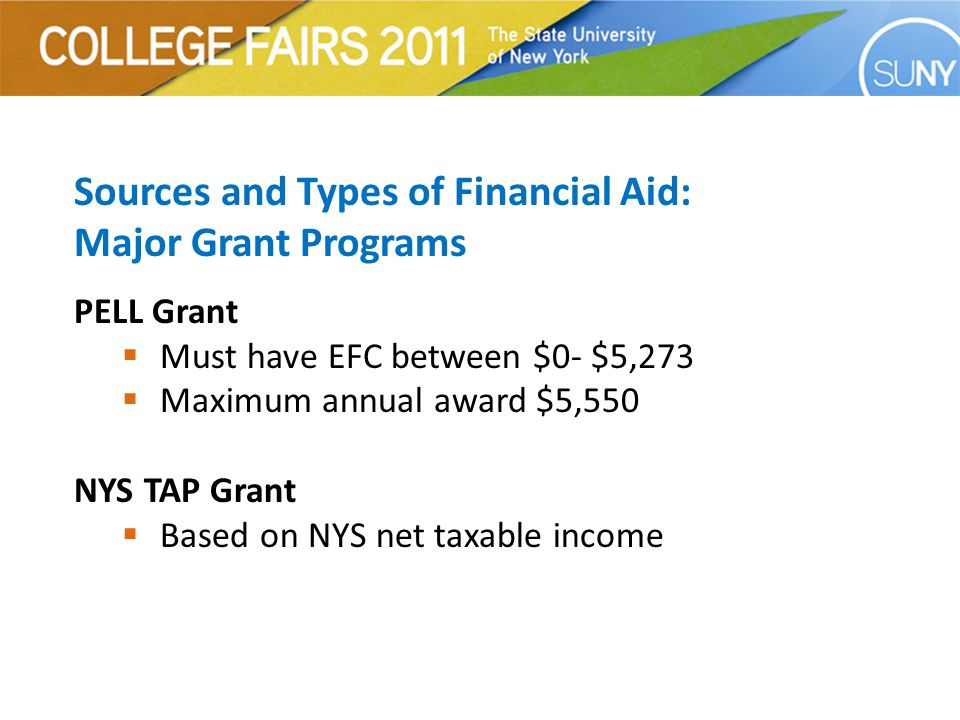 Sources and Types of Financial Aid: Major Grant Programs PELL Grant  Must have EFC between $0- $5,273  Maximum annual award $5,550 NYS TAP Grant  Based on NYS net taxable income