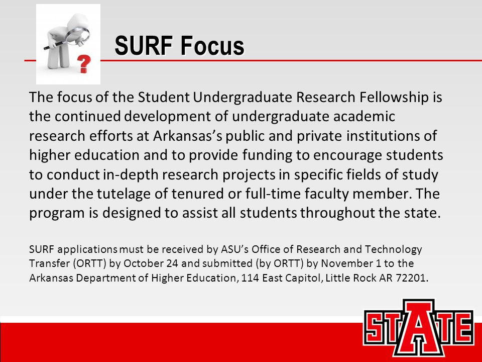 Eligible Projects All types of undergraduate research are eligible for support, and all academic disciplines are encouraged to apply.