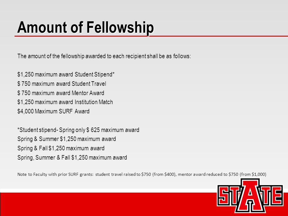 Amount of Fellowship The amount of the fellowship awarded to each recipient shall be as follows: $1,250 maximum award Student Stipend* $ 750 maximum a