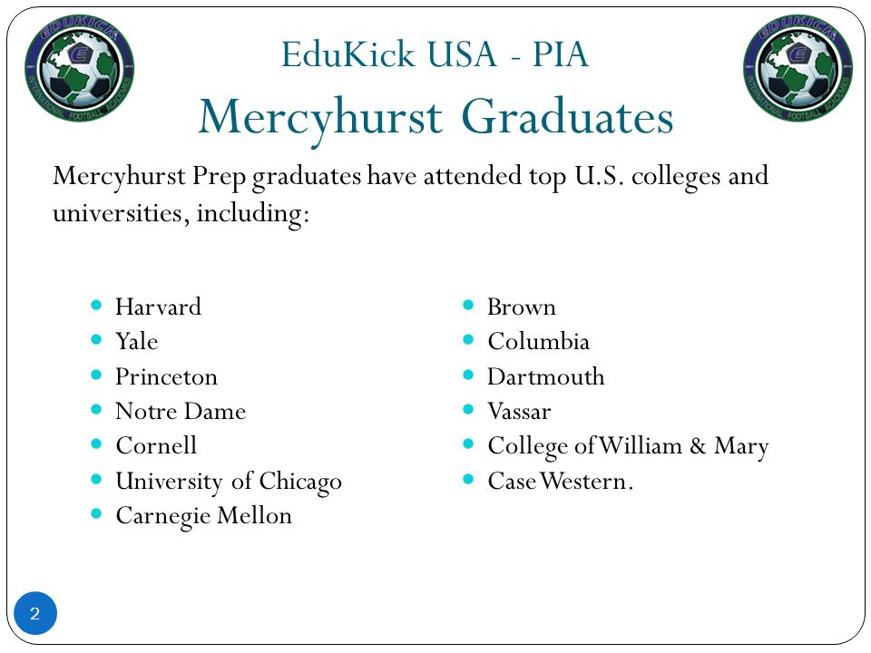 EduKick USA – PIA Student Clubs In addition to the EduKick USA – PIA soccer player`s daily training sessions there are many Mercyhurst Prep School Student Clubs to choose from: 23 National Honor Society Photo Club Dance Team Finance Club Feed the Hungry History Club Speech and Debate Peace Corps Club Student Government Women in Motion Visual Media Club Golf Club Student Politics Club Mu Alpha Theta-Math Club Model U.N.