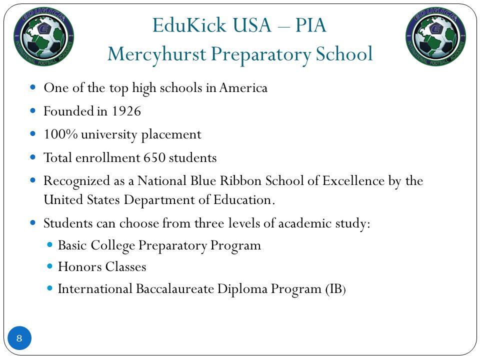 EduKick USA – PIA International Baccalaureate (IB) Program 9 Mercyhurst offers the prestigious International Baccalaureate Program.