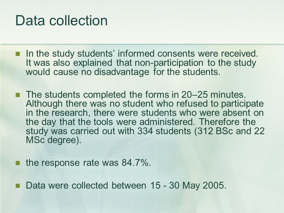 Data collection In the study students' informed consents were received.