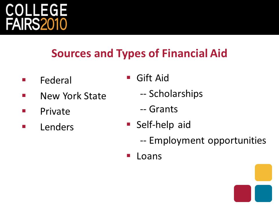 Sources and Types of Financial Aid  Federal  New York State  Private  Lenders  Gift Aid -- Scholarships -- Grants  Self-help aid -- Employment opportunities  Loans